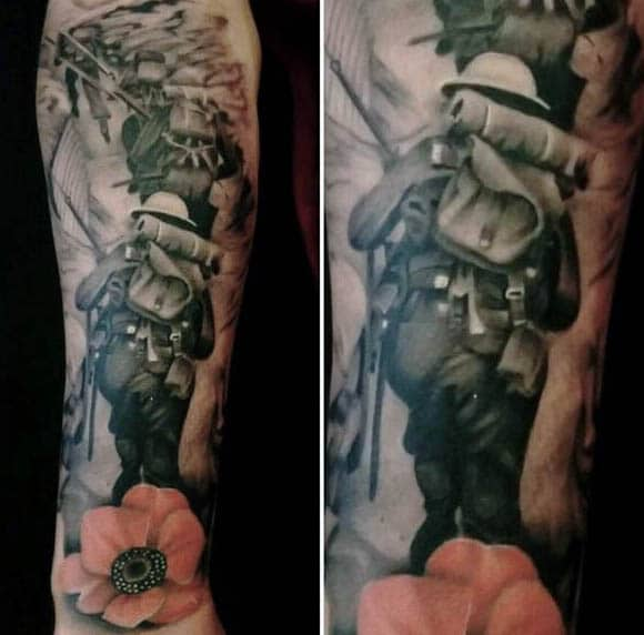 Man With Soliders Walking Through Battlefield And Poppy Tattoo On Forearm Wrist
