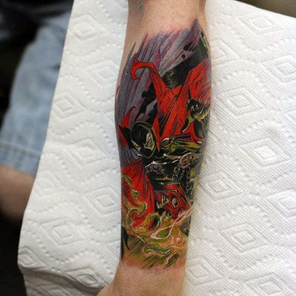 Man With Spawn Tattoo Leg Sleeve