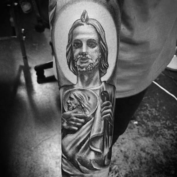 Man With St Jude Forearm Sleeve Tattoo