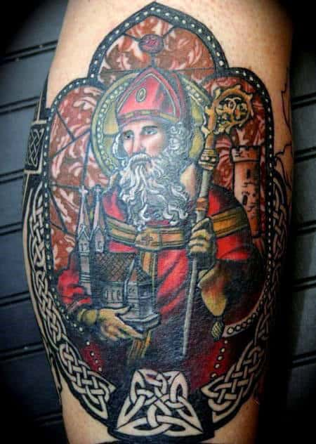 Man With Stained Glass On Leg Calf