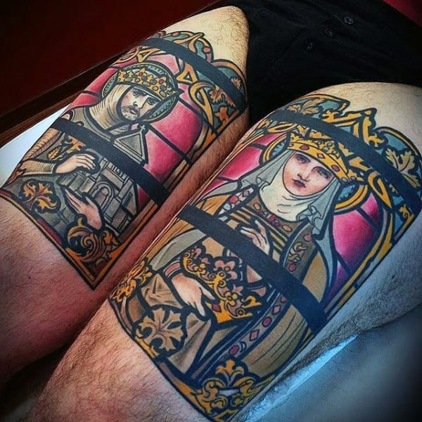 Man With Stained Glass Tattoos On Both Thighs Of Legs