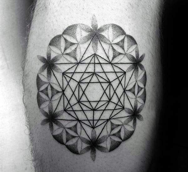 Man With Star Flower Of Life Geometrical Leg Calf Tattoo