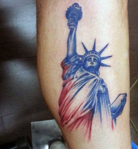 Man With Statue Of Liberty Tattoo