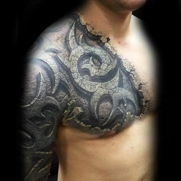 Man With Stone 3d Unbelievable Realistic Chest And Arm Tattoo