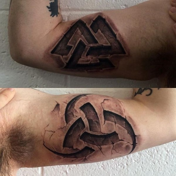 Man With Stone Bicep Tattoos 3d Design Ideas