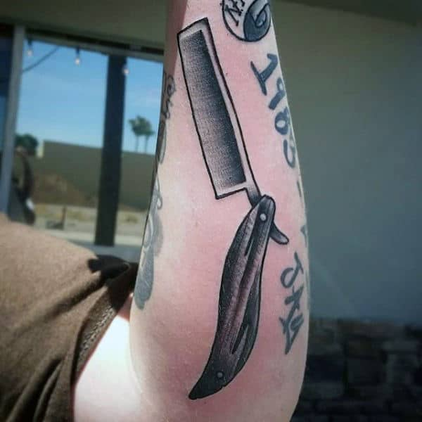 Man With Straight Razor Barber Tattoos
