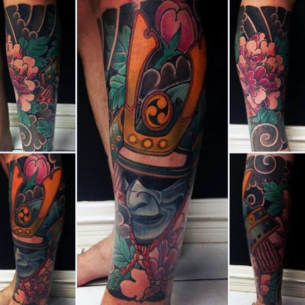 Man With Stylish Colorful Samurai Mask On Flower Background Tattoo Calf Piece