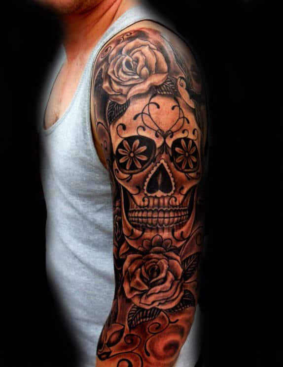 Man With Sugar Skull Full Sleeve Tattoos