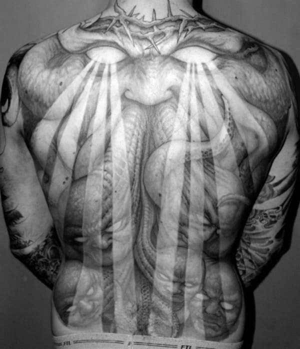 Man With Sun Rays Eyes Beaming Down Crazy Full Back Tattoo