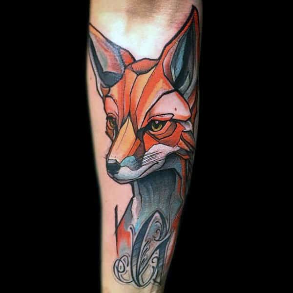 Man With Superb Fox Tattoo On Forearms