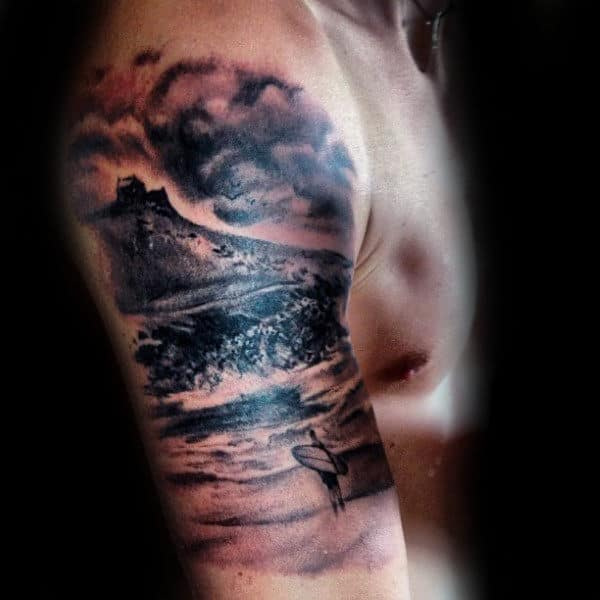Man With Surf Board On A Cloudy Day Tattoo Male Arms