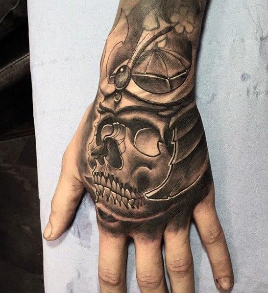 Man With Sweet 3d Skull Samuari Helmet Tattoo On Hands