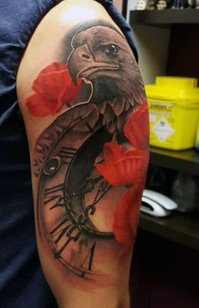 Man With Tattoo Of A Clock And Red Flowers