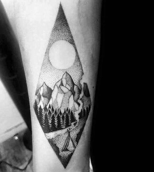 Man With Tattoo Of Camping Negative Space Sun Design Dotwork