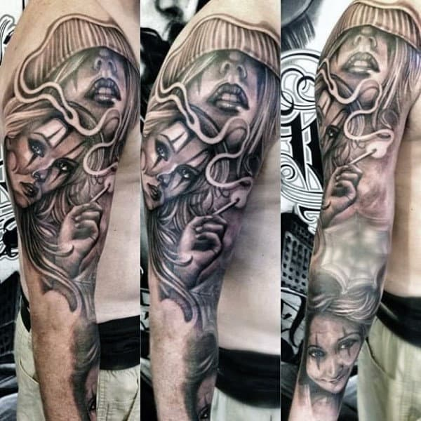 Man With Tattoo Of Chicano Females Sleeve Design