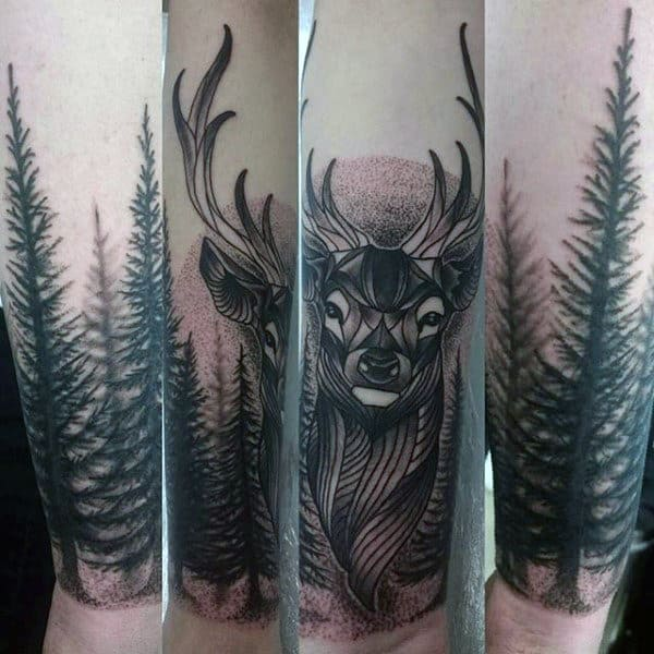 Man With Tattoo Of Deer On Lower Wrist