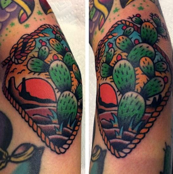 Man With Tattoo Of Desert Cactus Old School Design