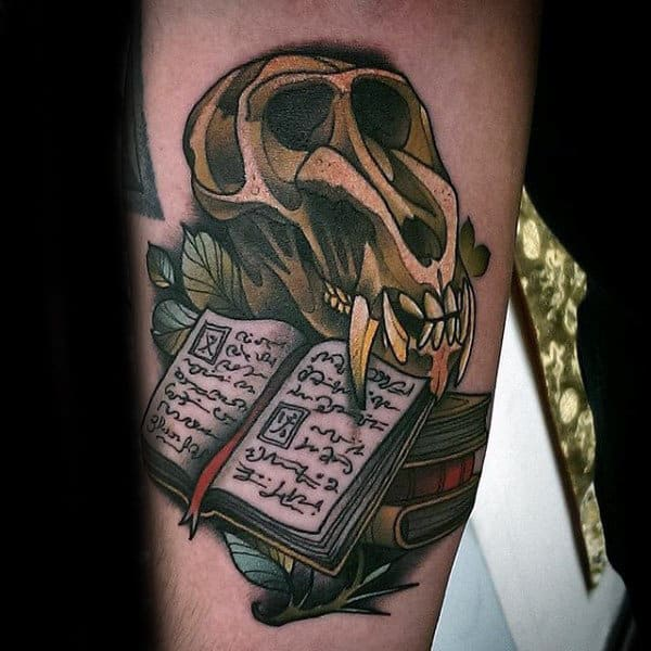 Man With Terrific Skull And Open Book Tattoo
