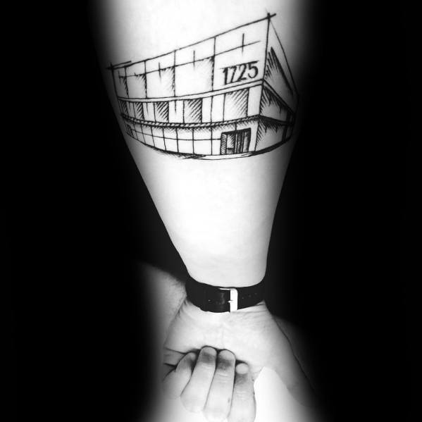 Man With The Office Building Inner Forearm Tattoo Design