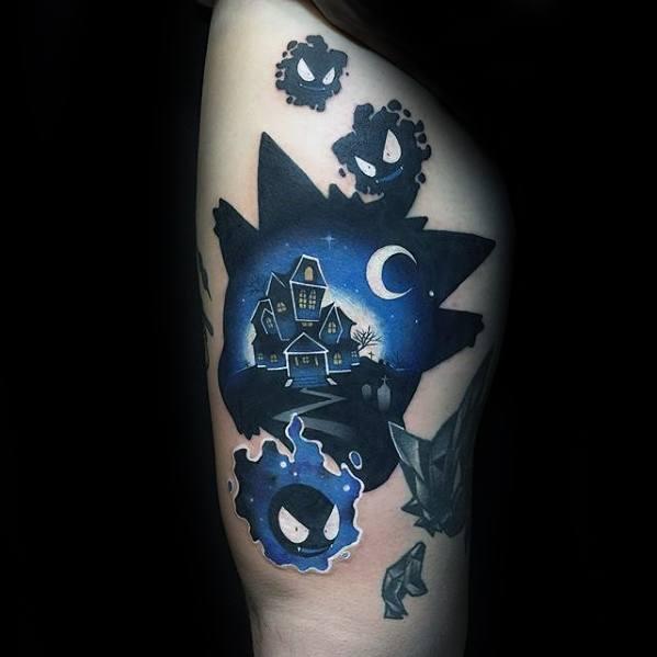 Man With Thigh Gamer Tattoos