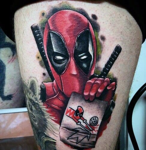 Man With Thigh Tattoo Deadpool Design