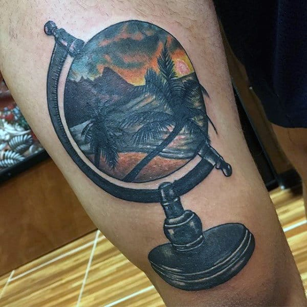 Man With Thigh Tattoo Of Palm Beach Sunset Surrounded By Globe