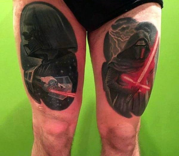 Man With Thigh Tattoos Of Lightsabers