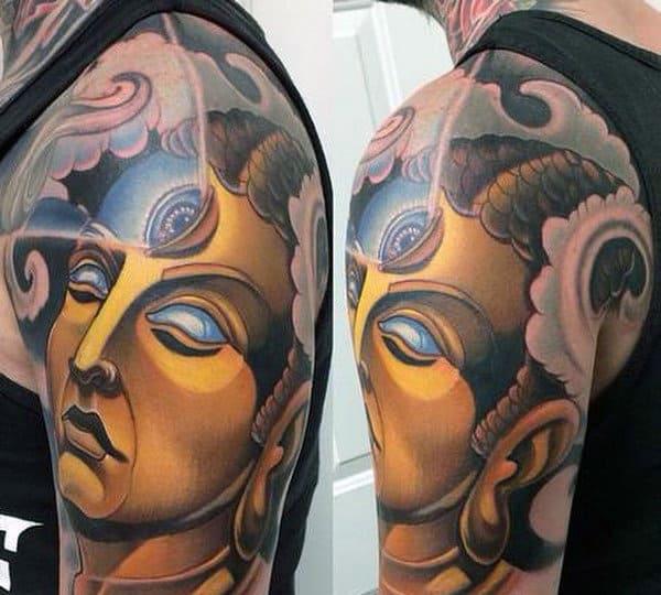 Man With Third Eye Awakening Buddha Tattoo On Shoulder