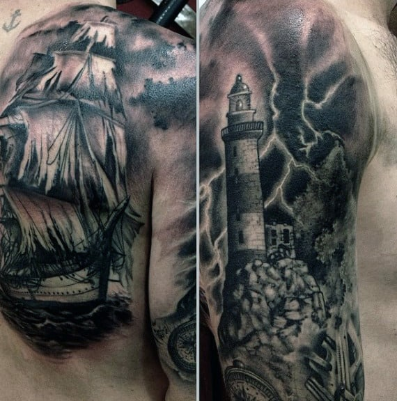 Man With Thunder And Lightning Tattoos