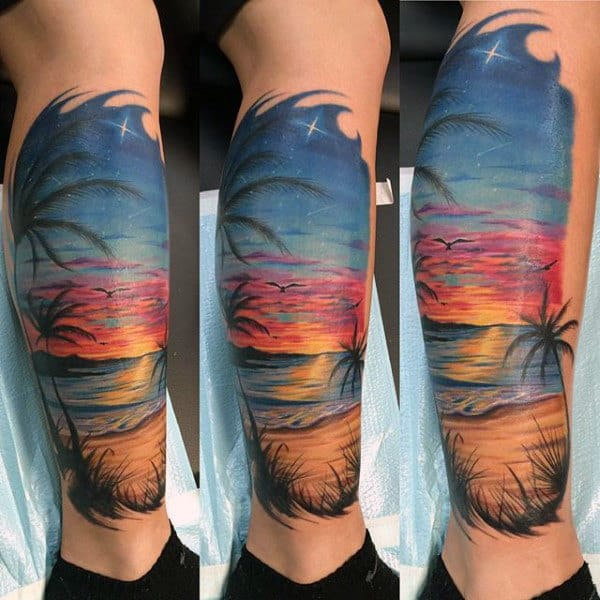 90 sunset tattoos for men fading daylight sky designs. Black Bedroom Furniture Sets. Home Design Ideas