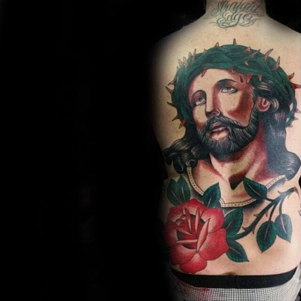Man With Traditional Jesus Rose Flower With Stem Back Tattoo