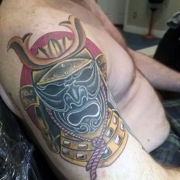 Man With Traditional Samurai Mask Upper Arm Tattoo