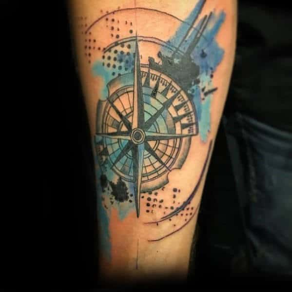 Man With Trash Polka Watercolor Compass Inner Forearm Tattoo