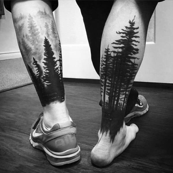 Man With Tree Leg Tattoo Design