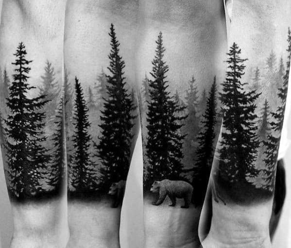 Man With Treeline Tattoo Design