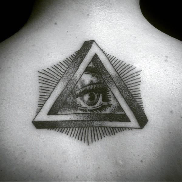 Man With Triangle All Seeing Eye Masonic Back Tattoo Design