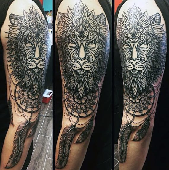 Man With Tribal Lion Dreamcatcher Half Sleeve Arm Tattoo