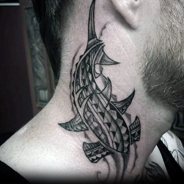Man With Tribal Shark Neck Tattoo