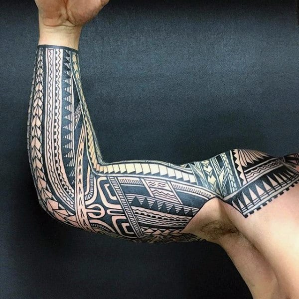 90 tribal sleeve tattoos for men manly arm design ideas. Black Bedroom Furniture Sets. Home Design Ideas