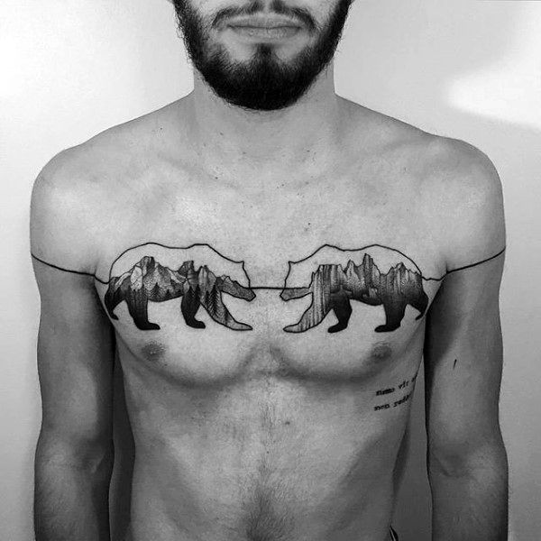 Man With Unique Bear Chest Tattoos
