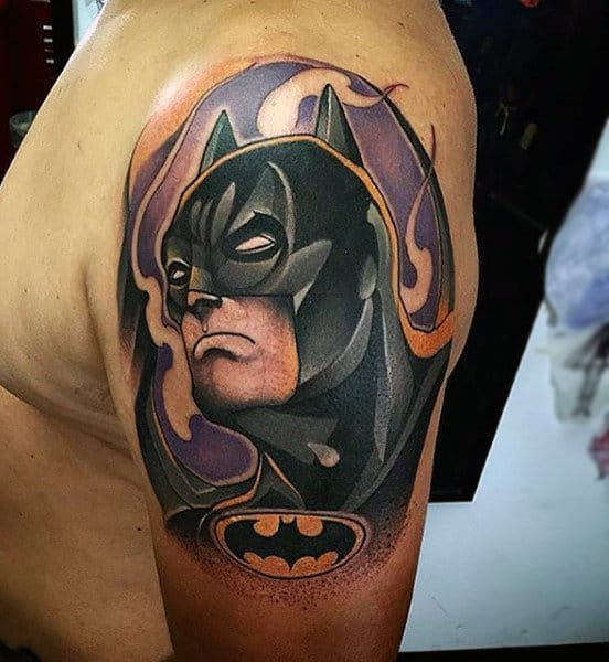 Man With Upper Arm Batman Tattoo Design