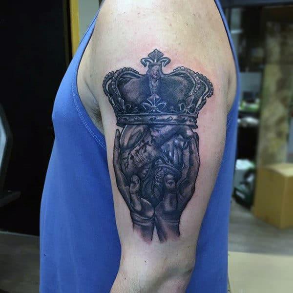 Man With Upper Arm Claddagh Tattoo Ideas