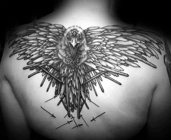 Man With Upper Back Swords Three Eyed Crow Game Of Thrones Tattoos
