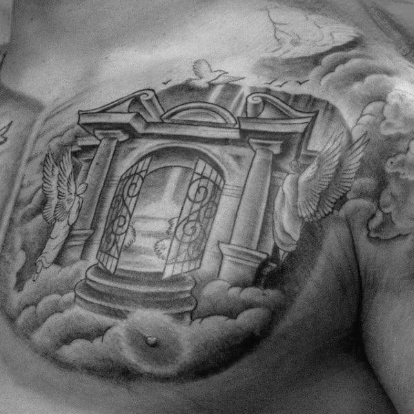 Man With Upper Chest Heaven Gate Tattoos