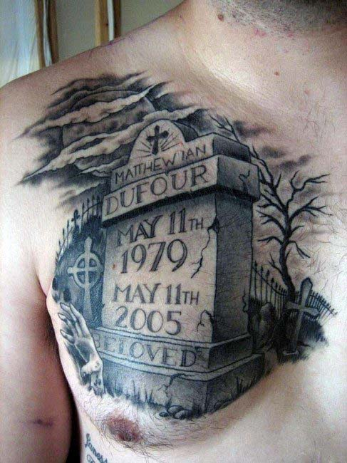 Man With Upper Chest Tombstone Grave Tattoos