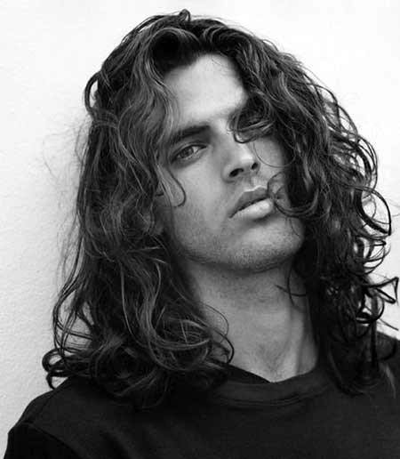 Man With Very Long Length Curly Hair