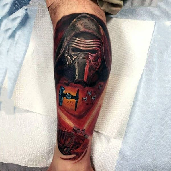 Man With Video Game Starwars Leg Sleeve Tattoo