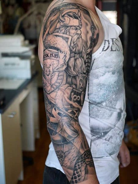 Man With Viking Sword Tattoo Full Sleeve