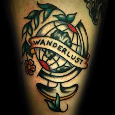 Man With Wanderlust Old School Traditional Arm Globe Tattoo