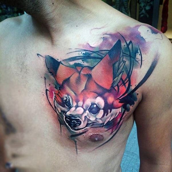Man With Water Color Fox Head Tattoo On Chest